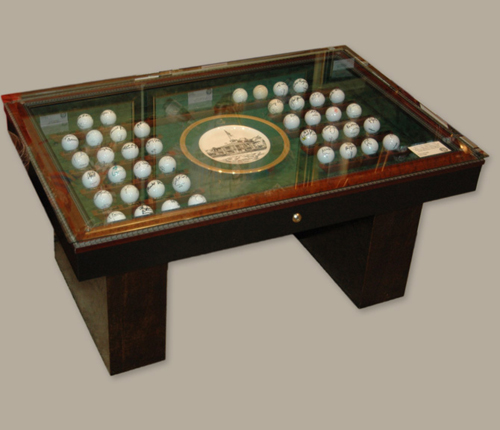 Masters coffee table autographed golf ball collection for Golf coffee table